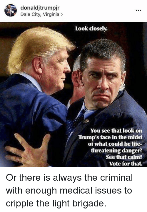Life, Memes, and Citi: donaldjtrumpjr  Dale City, Virginia  Look closely.  You see that look on  Trump's face in the midst  of what could be life-  threatening danger  See that calm?  Vote for that. Or there is always the criminal with enough medical issues to cripple the light brigade.