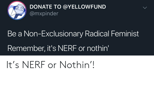 Nerf, Donate, and Feminist: DONATE TO @YELLOWFUND  @mxpinder  Be a Non-Exclusionary Radical Feminist  Remember, it's NERF or nothin' It's NERF or Nothin'!
