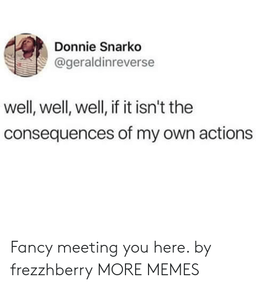 Dank, Memes, and Target: Donnie Snarko  @geraldinreverse  well, well, well, if it isn't the  consequences of my own actions Fancy meeting you here. by frezzhberry MORE MEMES