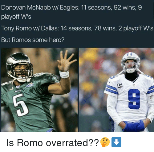 Basketball, Be Like, and Philadelphia Eagles: Donovan McNabb w/ Eagles: 11 seasons, 92 wins,9  playoff W's  Tony Romo w/ Dallas: 14 seasons, 78 wins, 2 playoff W's  But Romos some hero? Is Romo overrated??🤔⬇️