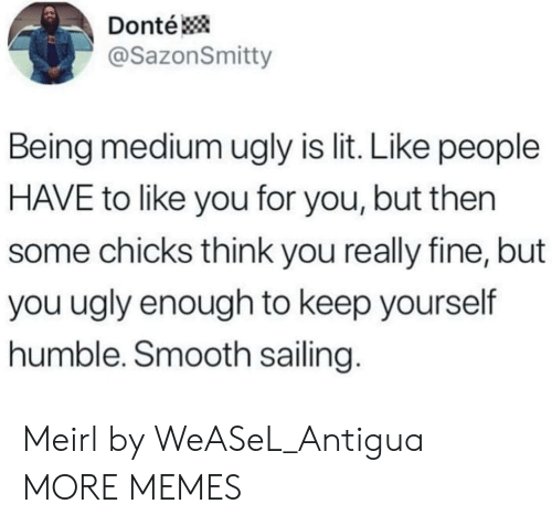 You Ugly: Donté  @SazonSmitty  Being medium ugly is lit. Like people  HAVE to like you for you, but then  some chicks think you really fine, but  you ugly enough to keep yourself  humble. Smooth sailing. Meirl by WeASeL_Antigua MORE MEMES