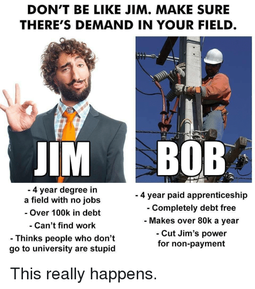 Degree In: DON'T BE LIKE JIM. MAKE SURE  THERE'S DEMAND IN YOUR FIELD  IM BOB  4 year degree in  a field with no jobs  - Over 100k in debt  Can't find work  - Thinks people who don't  go to university are stupid  - 4 year paid apprenticeship  Completely debt free  Makes over 80k a year  Cut Jim's power  for non-payment This really happens.