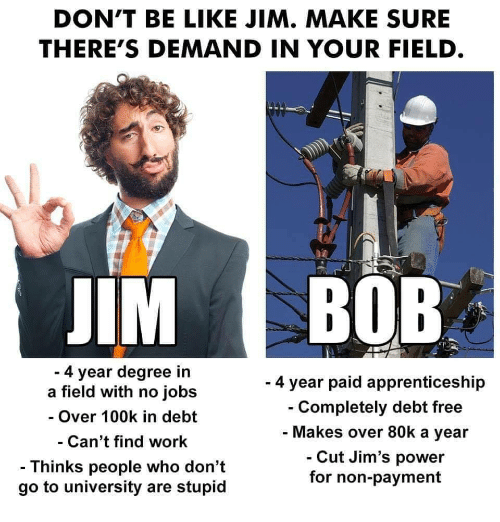 Degree In: DON'T BE LIKE JIM. MAKE SURE  THERE'S DEMAND IN YOUR FIELD  IM BOB  4 year degree in  a field with no jobs  - Over 100k in debt  Can't find work  - Thinks people who don't  go to university are stupid  - 4 year paid apprenticeship  Completely debt free  Makes over 80k a year  Cut Jim's power  for non-payment