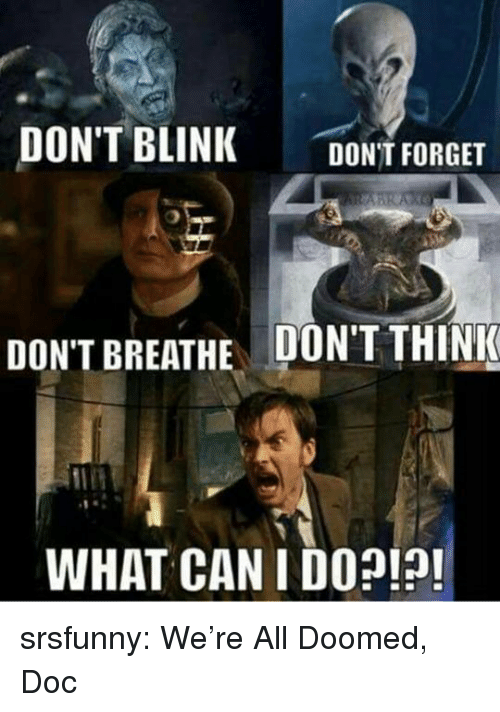 Tumblr, Blog, and Http: DON'T BLINK DONT FORGET  DON'T BREATHE  DON'T THINK  WHAT CAN I DO?!!! srsfunny:  We're All Doomed, Doc
