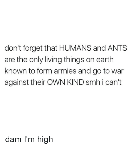 living thing: don't forget that HUMANS and ANTS  are the only living things on earth  known to form armies and go to war  against their OWN KIND smh i can't dam I'm high