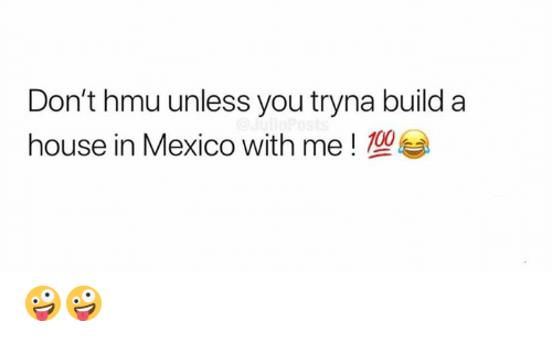 Memes, House, and Mexico: Don't hmu unless you tryna build a  house in Mexico with me! 00 🤪🤪