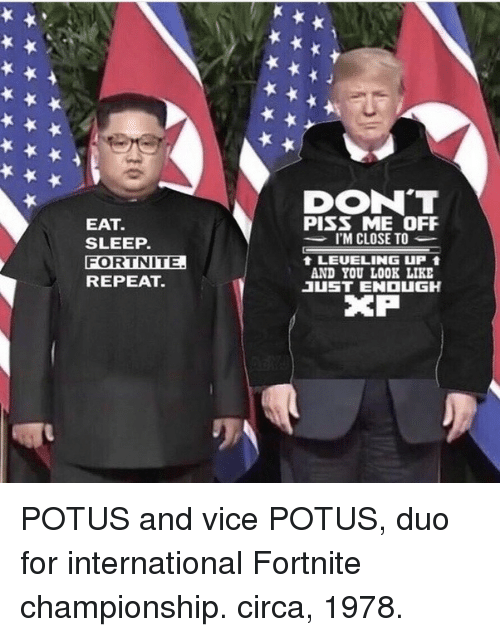 Piss Me Off: DON'T  PISS ME OFF  I'M CLOSE TO  EAT.  SLEEP.  FORTNITE  REPEAT.  t LEUELING uP  AND YOU LOOK LIKE  1UST ENOUGH  XP POTUS and vice POTUS, duo for international Fortnite championship. circa, 1978.