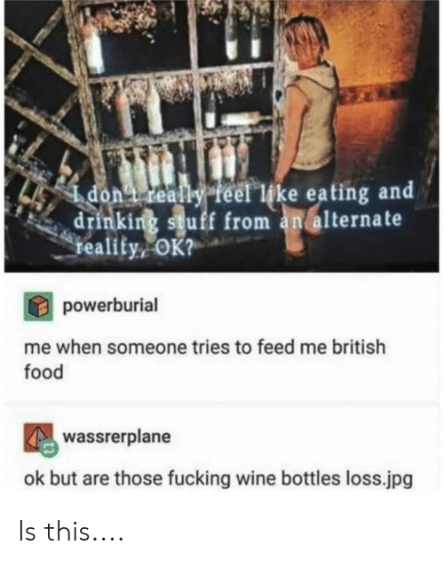 Drinking, Food, and Fucking: dont really feel like eating arn  drinking stuff from an alternate  teality, OK?  powerburial  me when someone tries to feed me british  food  wassrerplane  ok but are those fucking wine bottles loss.jpg Is this....