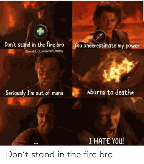 Hate You: Don't stand in the fire bro  world of warcraft funny  You underestimate my power  *burns to death*  Seriously I'm out of mana  I HATE YOU! Don't stand in the fire bro