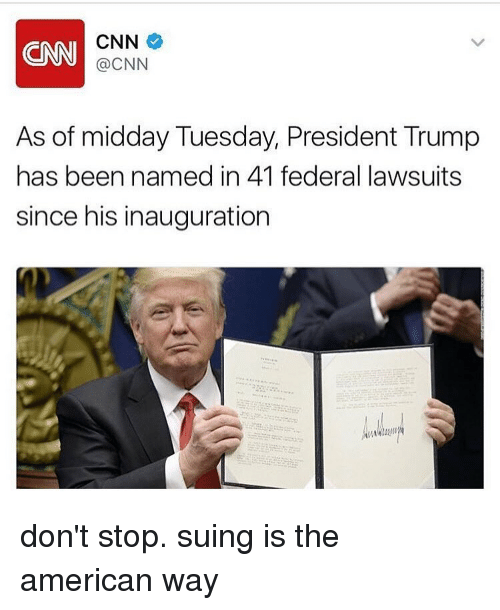 the american way: don't stop. suing is the american way