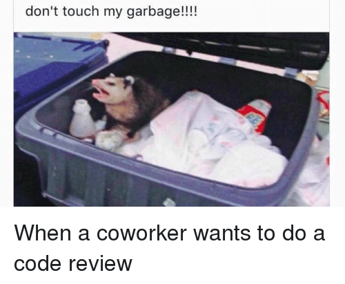 Dont Touch My: don't touch my garbage!!!! When a coworker wants to do a code review