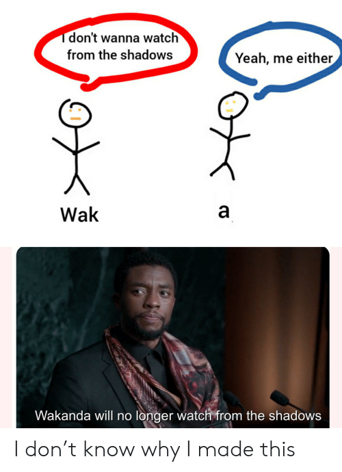 Shadows: don't wanna watch  from the shadows  Yeah, me either  Wak  Wakanda will no longer watch from the shadows I don't know why I made this