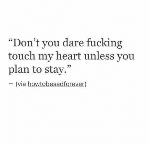 "Touch My: ""Don't you dare fucking  touch my heart unless you  plan to stay.""  (via howtobesadforever)"