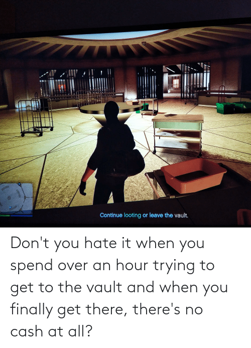 the vault: Don't you hate it when you spend over an hour trying to get to the vault and when you finally get there, there's no cash at all?