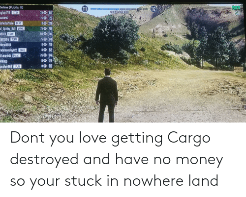 No Money: Dont you love getting Cargo destroyed and have no money so your stuck in nowhere land