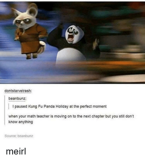 Teacher, Panda, and Math: dontstarvetrash:  beanbunz:  I paused Kung Fu Panda Holiday at the perfect moment  when your math teacher is moving on to the next chapter but you still don't  know anything  Source: beanbunz meirl