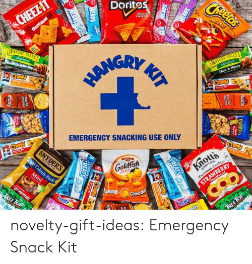 Snacking: Doritos  CHEE  ATTE  EMERGENCY SNACKING USE ONLY  Goldfish  Chedd novelty-gift-ideas:  Emergency Snack Kit