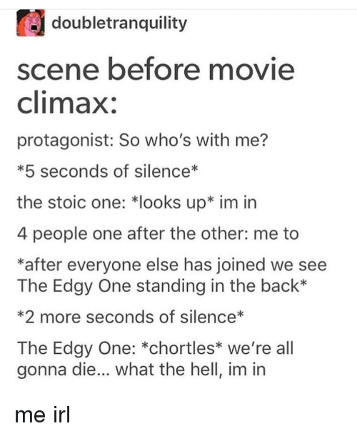 Other Me: doubletranquility  scene before movie  climax:  protagonist: So who's with me?  *5 seconds of silence*  the stoic one: *looks up* im irn  4 people one after the other: me to  *after everyone else has joined we see  The Edgy One standing in the back*  *2 more seconds of silence*  The Edgy One: *chortles* we're all  gonna die... what the hell, im in me irl