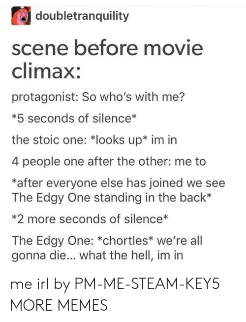 Other Me: doubletranquility  scene before movie  climax:  protagonist: So who's with me?  *5 seconds of silence*  the stoic one: *looks up* im irn  4 people one after the other: me to  *after everyone else has joined we see  The Edgy One standing in the back*  *2 more seconds of silence*  The Edgy One: *chortles* we're all  gonna die... what the hell, im in me irl by PM-ME-STEAM-KEY5 MORE MEMES