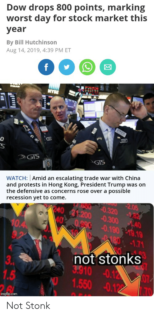 China, Hong Kong, and Nyse: Dow drops 800 points, marking  worst day for stock market this  year  By Bill Hutchinson  Aug 14, 2019, 4:39 PM ET  f  PIMAN  NYSE  2925  2390  GIS  GIS  WATCH: Amid an escalating trade war with China  and protests in Hong Kong, President Trump was on  the defensive as concerns rose over a possible  2.05  recession yet to come.  E80 20.320 182  240 21:200 0.300 40  40  0.890 0.190 19.19  10.4  9.2  180-1.71  not stonks  3.910 0.12 07  1.550 -0.122  3  .PM  1.5  26  70  imgflip.com  tise Not Stonk