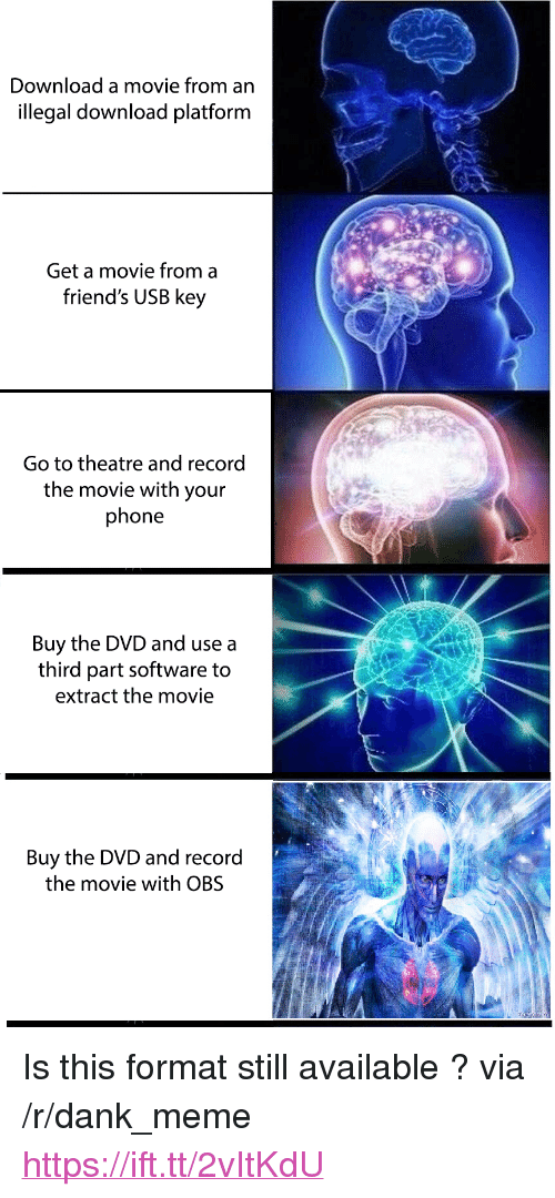 """Dank, Friends, and Meme: Download a movie from an  illegal download platform  Get a movie from a  friend's USB key  Go to theatre and record  the movie with your  phone  Buy the DVD and use a  third part software to  extract the movie  Buy the DVD and record  the movie with OBS <p>Is this format still available ? via /r/dank_meme <a href=""""https://ift.tt/2vItKdU"""">https://ift.tt/2vItKdU</a></p>"""