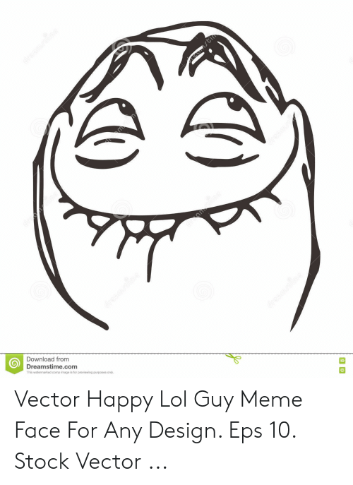 Design Eps: Download from  Dreamstime.com  This watermarked comp image is for previewing purposes only  ID Vector Happy Lol Guy Meme Face For Any Design. Eps 10. Stock Vector ...