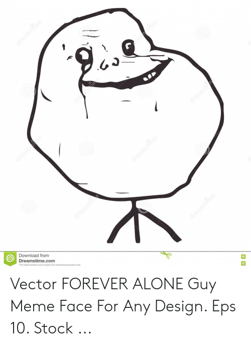 Design Eps: Download from  Dreamstime.com  This watermarked comp image is for previewing purposes only  ID Vector FOREVER ALONE Guy Meme Face For Any Design. Eps 10. Stock ...