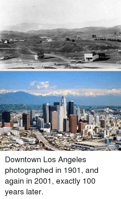 Anaconda, Los Angeles, and Downtown: Downtown Los Angeles photographed in 1901, and again in 2001, exactly 100 years later.