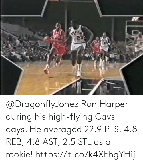 Flying: @DragonflyJonez Ron Harper during his high-flying Cavs days.   He averaged 22.9 PTS, 4.8 REB, 4.8 AST, 2.5 STL as a rookie!   https://t.co/k4XFhgYHij