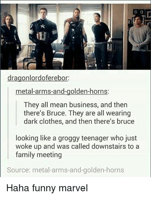 Funny Marvel: dragonlordoferebor:  metal-arms-and-golden-horns:  They all mean business, and then  there's Bruce. They are all wearing  dark clothes, and then there's bruce  looking like a groggy teenager who just  woke up and was called downstairs to a  family meeting  Source: metal-arms-and-golden-horns Haha funny marvel