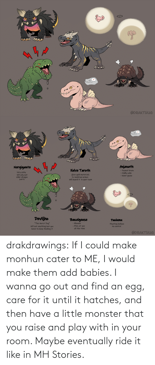 monster: drakdrawings:    If I could make monhun cater to ME, I would make them add babies. I wanna go out and find an egg, care for it until it hatches, and then have a little monster that you raise and play with in your room. Maybe eventually ride it like in MH Stories.