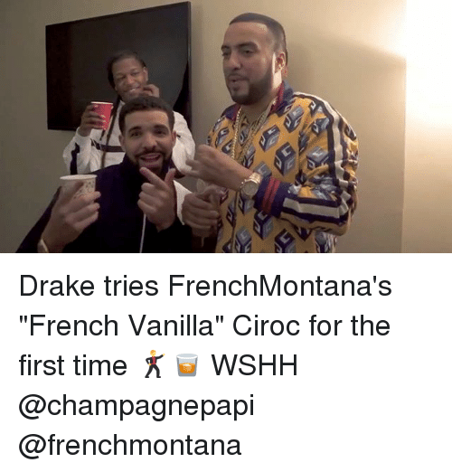 "Draking: Drake tries FrenchMontana's ""French Vanilla"" Ciroc for the first time 🕺🥃 WSHH @champagnepapi @frenchmontana"