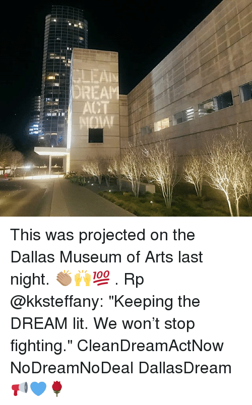 """Lit, Memes, and Dallas: DREAM This was projected on the Dallas Museum of Arts last night. 👏🏽🙌💯 . Rp @kksteffany: """"Keeping the DREAM lit. We won't stop fighting."""" CleanDreamActNow NoDreamNoDeal DallasDream 📢💙🌹"""