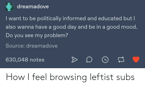 How I Feel: dreamadove  I want to be politically informed and educated but I  also wanna have a good day and be in a good mood.  Do you see my problem?  Source: dreamadove  630,048 notes How I feel browsing leftist subs
