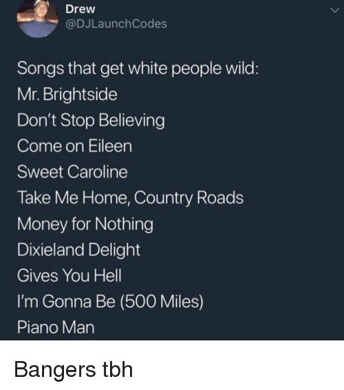 500 Miles: Drew  @DJLaunch Codes  Songs that get white people wild  Mr. Brightside  Don't Stop Believing  Come on Eileen  Sweet Caroline  Take Me Home, Country Roads  Money for Nothing  Dixieland Delight  Gives You Hell  I'm Gonna Be (500 Miles)  Piano Man Bangers tbh