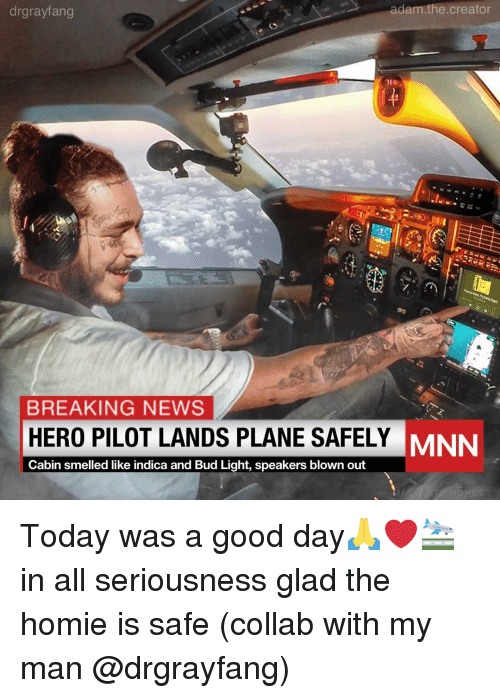 Homie, Memes, and News: drgrayfang  adam.the.creator  BREAKING NEWS  HERO PILOT LANDS PLANE SAFELY  Cabin smelled like indica and Bud Light, speakers blown out  MNN Today was a good day🙏❤️🛬 in all seriousness glad the homie is safe (collab with my man @drgrayfang)