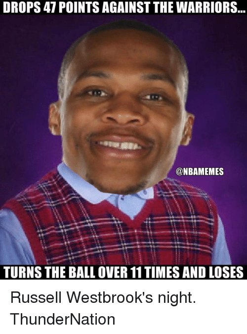 Russel Westbrook: DROPS 47 POINTS AGAINST THE WARRIORS  @NBAMEMES  TURNS THE BALL OVER 11TIMES AND LOSES Russell Westbrook's night. ThunderNation