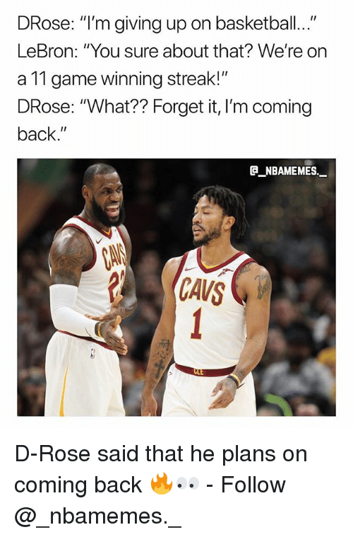 "d rose: DRose: ""I'm giving up on basketball...""  LeBron: ""You sure about that? We're on  a 11 game winning streak!""  DRose: ""What?? Forget it, I'm coming  back.""  @_ABAMEMEs.一  CANS D-Rose said that he plans on coming back 🔥👀 - Follow @_nbamemes._"