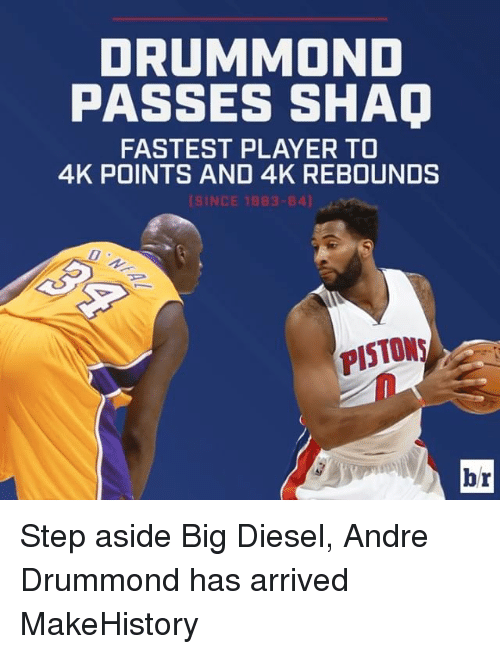 Drummond: DRUMMOND  PASSES SHAO  FASTEST PLAYER TO  4K POINTS AND 4K REBOUNDS  INCE 1983-84)  PISTONS  br Step aside Big Diesel, Andre Drummond has arrived MakeHistory