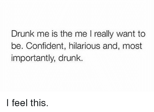 Dank, Drunk, and Hilarious: Drunk me is the me I really want to  be. Confident, hilarious and, most  importantly, drunk I feel this.