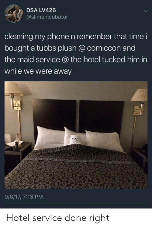 plush: DSA LV426  @slimeincubator  cleaning my phone n remember that time i  bought a tubbs plush @ comiccon and  the maid service @ the hotel tucked him in  while we were away  9/6/17, 7:13 PM Hotel service done right