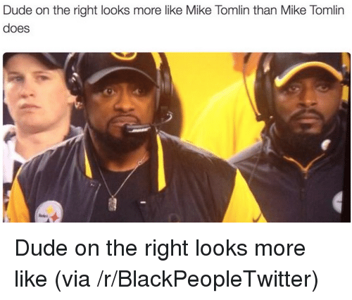 Blackpeopletwitter, Dude, and Mike Tomlin: Dude on the right looks more like Mike Tomlin than Mike Tomlirn  does <p>Dude on the right looks more like (via /r/BlackPeopleTwitter)</p>