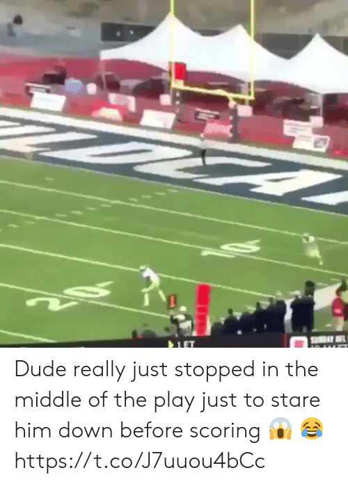 Dude, Football, and Nfl: Dude really just stopped in the middle of the play just to stare him down before scoring 😱 😂 https://t.co/J7uuou4bCc