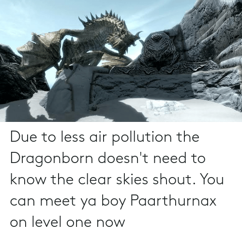 need-to-know: Due to less air pollution the Dragonborn doesn't need to know the clear skies shout. You can meet ya boy Paarthurnax on level one now