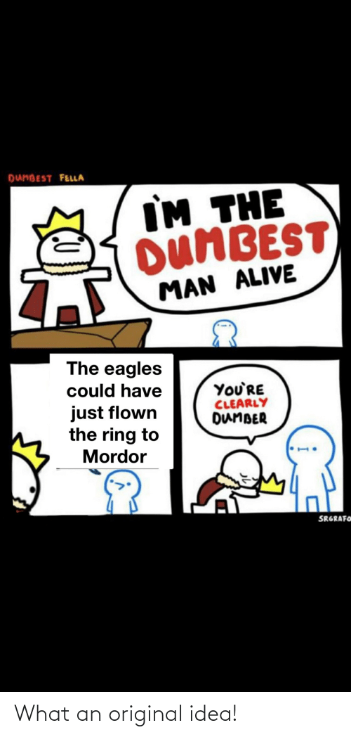 Dunbest Fella Im The Dumbest Man Alive The Eagles Could Have Youre Clearly Dumber Just Flown The Ring To Mordor Srgrafoh What An Original Idea Alive Meme On Ballmemes Com