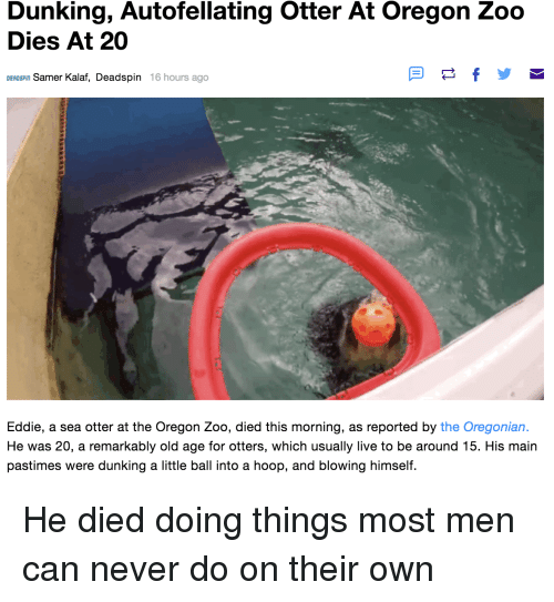 Funny, Otters, and Live: Dunking, Autofellating Otter At Oregon Zoo  Dies At 20  DEADsPin Samer Kalaf, Deadspin 16 hours ago  Eddie, a sea otter at the Oregon Zoo, died this morning, as reported by the Oregonian  He was 20, a remarkably old age for otters, which usually live to be around 15. His main  pastimes were dunking a little ball into a hoop, and blowing himself.