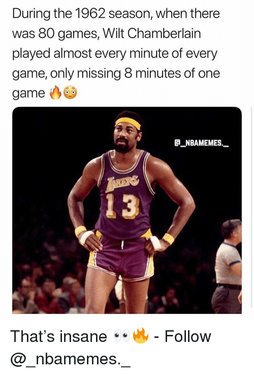 Memes, Game, and Games: During the 1962 season, when there  was 80 games, Wilt Chamberlain  played almost every minute of every  game, only missing 8 minutes of one  game  B NBAMEMES_  13 That's insane 👀🔥 - Follow @_nbamemes._