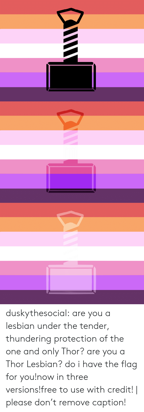 the one and only: duskythesocial:  are you a lesbian under the tender, thundering protection of the one and only Thor? are you a Thor Lesbian? do i have the flag for you!now in three versions!free to use with credit! | please don't remove caption!