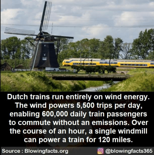 trains: Dutch trains run entirely on wind energy  The wind powers 5,500 trips per day,  enabling 600,000 daily train passengers  to commute without an emissions. Over  the course of an hour, a single windmill  can power a train for 120 miles.  Source Blowingfacts.org  O@blowingfacts365