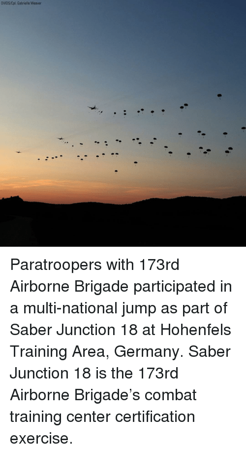 Memes, Exercise, and Germany: DVIDS/Cpl. Gabrielle Weaver Paratroopers with 173rd Airborne Brigade participated in a multi-national jump as part of Saber Junction 18 at Hohenfels Training Area, Germany. Saber Junction 18 is the 173rd Airborne Brigade's combat training center certification exercise.